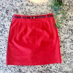 H&M red pencil skirt with skinny belt